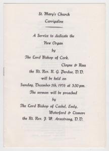 Carrigaline Church, Organ Dedication, 5th December, 1976. 001